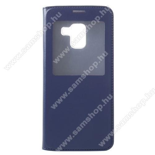 Műanyag védő tok / bőr hátlap - SÖTÉTKÉK - oldalra nyíló S-View Cover flip, hívószám kijelzés, asztali tartó funkció - SAMSUNG SM-A730F Galaxy A8 Plus (2018)