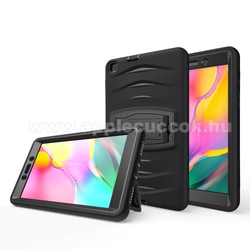 Műanyag védő tok / hátlap - 3 rétegből áll, szilikon betétes, kitámasztható - ERŐS VÉDELEM! - FEKETE - SAMSUNG SM-T295 Galaxy Tab A 8.0 LTE (2019) / SAMSUNG SM-T290 Galaxy Tab A 8.0 Wi-Fi (2019)