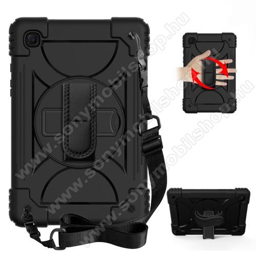 Műanyag védő tok / hátlap - 3 rétegből áll, szilikon betétes, kitámasztható, 360°-ban elforgatható kézpánt, heveder, erősített sarkok - ERŐS VÉDELEM! - FEKETE - SAMSUNG Galaxy Tab A7 10.4 (2020) (SM-T500/SM-T505)