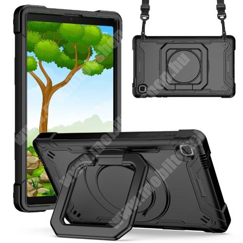 Műanyag védő tok / hátlap - 3 rétegből áll, szilikon betétes, kitámasztható, 360°-ban elforgatható fogantyú, hevederrel - ERŐS VÉDELEM! - FEKETE - SAMSUNG Galaxy Tab A7 Lite (SM-T220 / SM-T225)