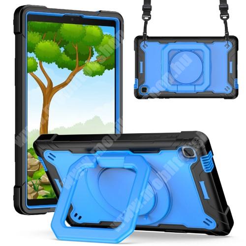 Műanyag védő tok / hátlap - 3 rétegből áll, szilikon betétes, kitámasztható, 360°-ban elforgatható fogantyú, hevederrel - ERŐS VÉDELEM! - KÉK / FEKETE - SAMSUNG Galaxy Tab A7 Lite (SM-T220 / SM-T225)