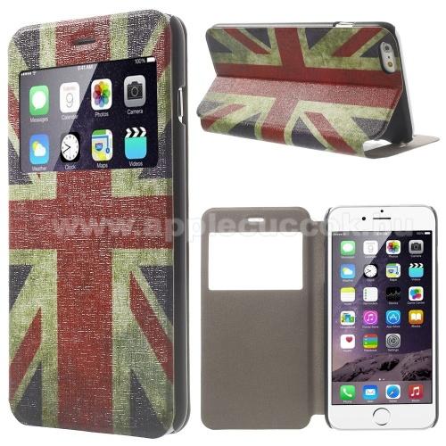 Műanyag védő tok / hátlap - ANGOL ZÁSZLÓ MINTA - oldalra nyíló S-View Cover flip, hívószámkijelzés, asztali tartó funkció - APPLE iPhone 6 Plus / APPLE iPhone 6S Plus