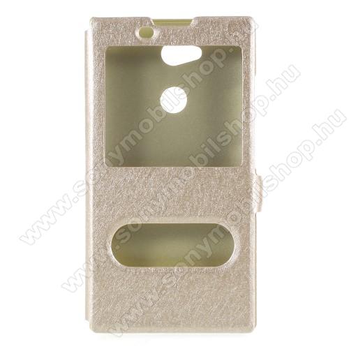 Műanyag védő tok / hátlap - ARANY - oldalra nyíló ablakos flip cover, asztali tartó funkció, mágneses záródás, hívásfelvétel - Sony Xperia L2