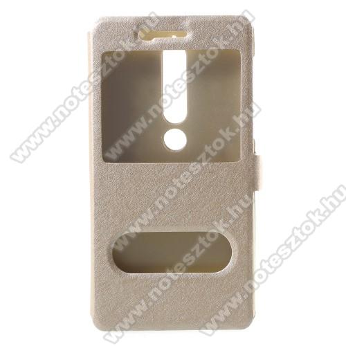 Műanyag védő tok / hátlap - ARANY - oldalra nyíló flip cover, asztali tartó funkció, mágneses záródás, hívásfelvétel - NOKIA 6.1 (2018)