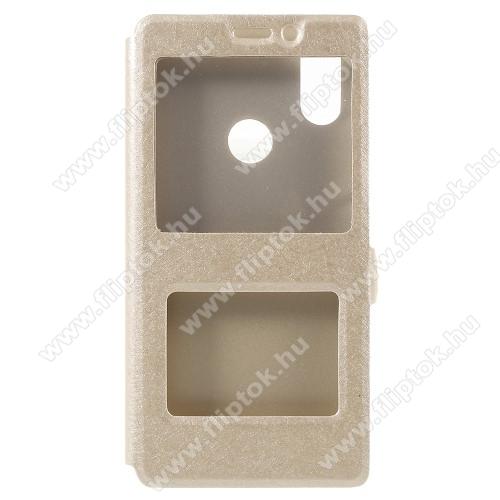 Műanyag védő tok / hátlap - ARANY - oldalra nyíló ablakos flip cover, asztali tartó funkció, mágneses záródás, hívásfelvétel - Xiaomi Mi 8 SE