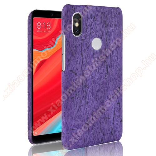 Műanyag védő tok / hátlap - FAEREZET MINTÁS / MŰBŐR BORÍTÁS - LILA - Xiaomi Redmi Note 6 Pro