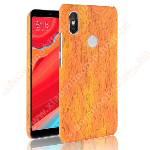 Műanyag védő tok / hátlap - FAEREZET MINTÁS / MŰBŐR BORÍTÁS - VILÁGOSBARNA - Xiaomi Redmi Note 6 Pro