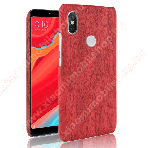 Műanyag védő tok / hátlap - FAEREZET MINTÁS / MŰBŐR BORÍTÁS - PIROS - Xiaomi Redmi Note 6 Pro