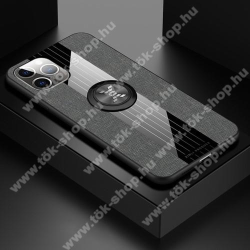 Műanyag védő tok / hátlap - Farmerrel bevont, szilikon betétes, tapadó felület mágneses autós tartóhoz, ujjgyűrűvel kitámasztható - SZÜRKE - APPLE iPhone 11 Pro