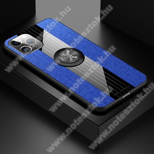 Műanyag védő tok / hátlap - Farmerrel bevont, szilikon betétes, tapadó felület mágneses autós tartóhoz, ujjgyűrűvel kitámasztható - KÉK - APPLE iPhone 11 Pro