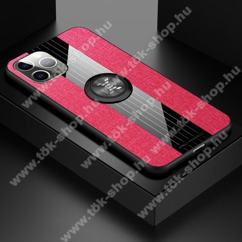 Műanyag védő tok / hátlap - Farmerrel bevont, szilikon betétes, tapadó felület mágneses autós tartóhoz, ujjgyűrűvel kitámasztható - PIROS - APPLE iPhone 11 Pro