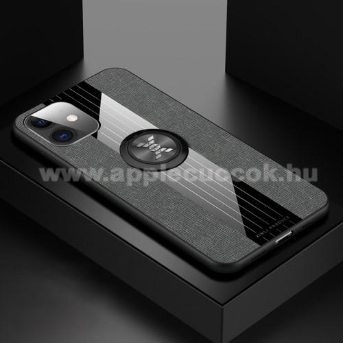 Műanyag védő tok / hátlap - Farmerrel bevont, szilikon betétes, tapadó felület mágneses autós tartóhoz, ujjgyűrűvel kitámasztható - SZÜRKE - APPLE iPhone 11