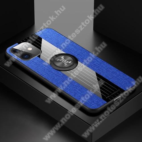 Műanyag védő tok / hátlap - Farmerrel bevont, szilikon betétes, tapadó felület mágneses autós tartóhoz, ujjgyűrűvel kitámasztható - KÉK - APPLE iPhone 11