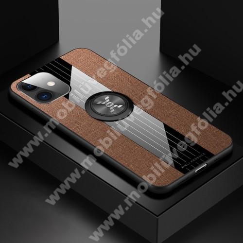 Műanyag védő tok / hátlap - Farmerrel bevont, szilikon betétes, tapadó felület mágneses autós tartóhoz, ujjgyűrűvel kitámasztható - BARNA - APPLE iPhone 11