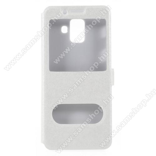 Műanyag védő tok / hátlap - FEHÉR - oldalra nyíló ablakos flip cover, asztali tartó funkció, mágneses záródás, hívásfelvétel - SAMSUNG SM-A600F Galaxy A6 (2018)