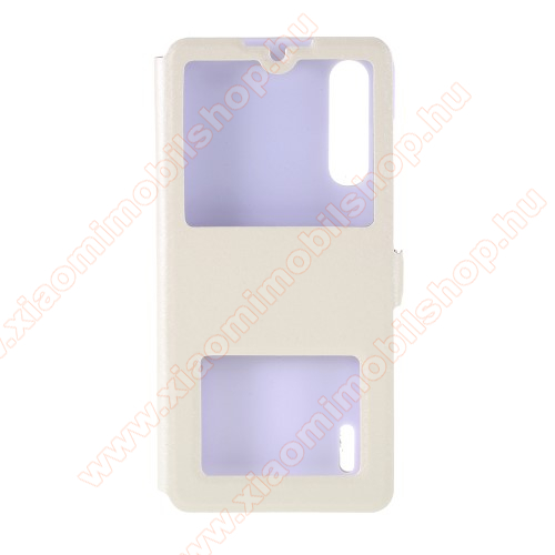 Műanyag védő tok / hátlap - FEHÉR - oldalra nyíló ablakos flip cover, asztali tartó funkció, mágneses záródás, hívásfelvétel - Xiaomi Mi 9 Lite / Xiaomi Mi CC9