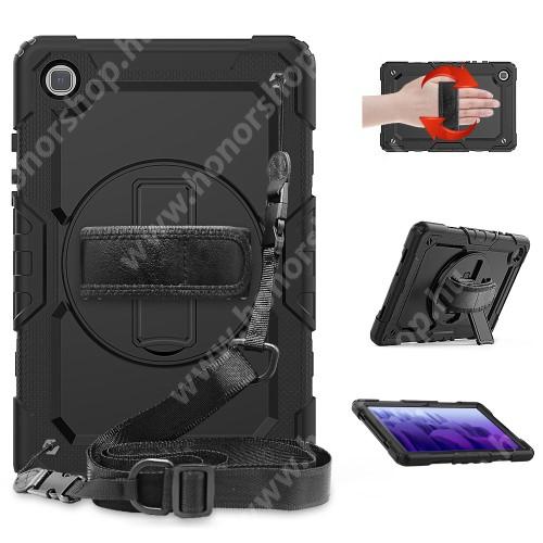 Műanyag védő tok / hátlap - FEKETE - 360°-os védelem, kijelzővédő is, három rétegű, szilikon betétes, kitámasztható, forgatható kézpánt, vállpánttal - ERŐS VÉDELEM! - SAMSUNG Galaxy Tab A7 10.4 (2020) (SM-T500/SM-T505)