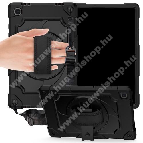 Műanyag védő tok / hátlap - FEKETE - 360°-os védelem, három rétegű, szilikon betétes, kitámasztható, forgatható kézpánt, vállpánttal, erősített sarkok - ERŐS VÉDELEM! - SAMSUNG Galaxy Tab A7 10.4 (2020) (SM-T500/SM-T505)