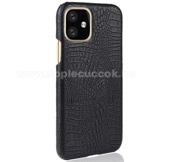 Műanyag védő tok / hátlap - FEKETE - bőr hatású, krokodilbőr mintás - APPLE iPhone 11 Pro Max