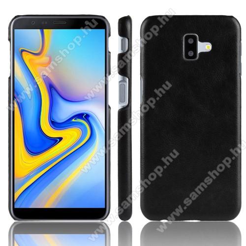 Műanyag védő tok / hátlap - FEKETE - bőrhatású - SAMSUNG SM-J610F Galaxy J6+