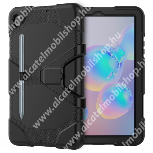 Műanyag védő tok / hátlap - FEKETE - három rétegű, szilikon betétes, asztali tartó funkciós, erősített sarkok, ceruza tartó, ERŐS VÉDELEM! - SAMSUNG SM-P610 Galaxy Tab S6 Lite (Wi-Fi) / SM-P615 Galaxy Tab S6 Lite (LTE)