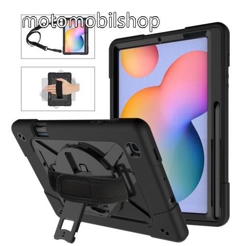 Műanyag védő tok / hátlap - FEKETE - három rétegű, szilikon betétes, kitámasztható, ceruza tartóval, kézpánttal és vállpánttal - ERŐS VÉDELEM! - SAMSUNG SM-P610 Galaxy Tab S6 Lite (Wi-Fi) / SM-P615 Galaxy Tab S6 Lite (LTE)