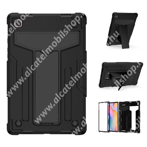Műanyag védő tok / hátlap - FEKETE - három rétegű, szilikon betétes, kitámasztható, erősített sarkok - ERŐS VÉDELEM! - SAMSUNG Galaxy Tab A7 10.4 (2020) (SM-T500/SM-T505)