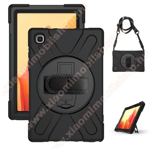 Műanyag védő tok / hátlap - FEKETE - három rétegű, szilikon betétes, kitámasztható, kézpánt és vállpánttal - ERŐS VÉDELEM! - SAMSUNG Galaxy Tab A7 10.4 (2020) (SM-T500/SM-T505)