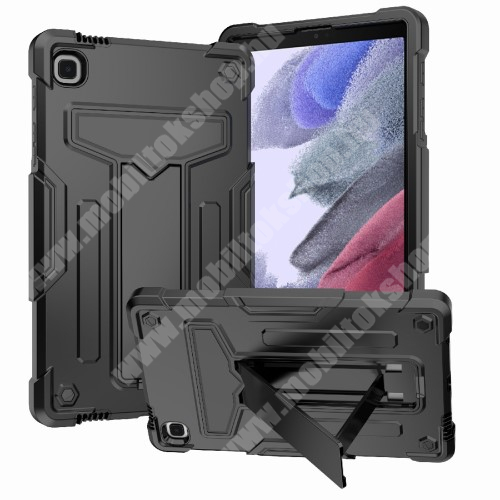 Műanyag védő tok / hátlap - FEKETE - három rétegű, szilikon betétes, kitámasztható, erősített sarkok - ERŐS VÉDELEM! - SAMSUNG Galaxy Tab A7 Lite (SM-T220 / SM-T225)
