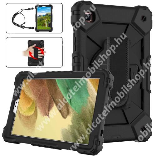 Műanyag védő tok / hátlap - FEKETE - három rétegű, szilikon betétes, kitámasztható, forgatható kézpánt, vállpánttal - ERŐS VÉDELEM! - SAMSUNG Galaxy Tab A7 Lite (SM-T220 / SM-T225)