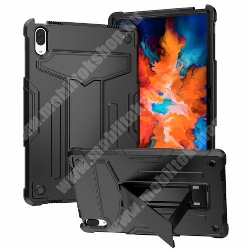 Műanyag védő tok / hátlap - FEKETE - három rétegű, szilikon betétes, kitámasztható, erősített sarkok - ERŐS VÉDELEM! - Lenovo Tab P11 Pro (TB-J706F) / Lenovo Tab XiaoXin P11 Pro