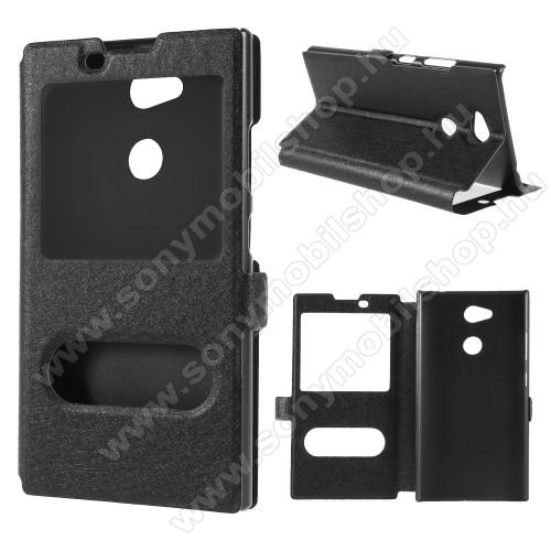 Műanyag védő tok / hátlap - FEKETE - oldalra nyíló ablakos flip cover, asztali tartó funkció, mágneses záródás, hívásfelvétel - Sony Xperia L2