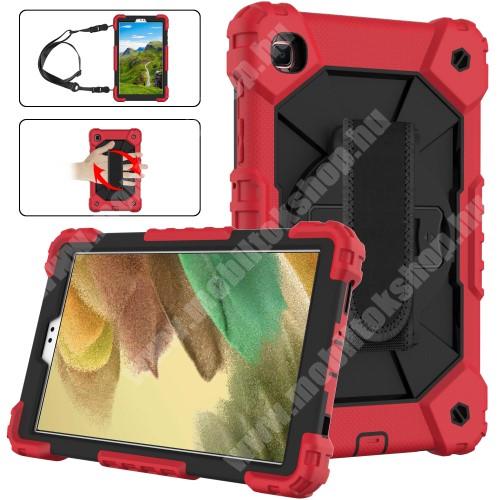 Műanyag védő tok / hátlap - FEKETE / PIROS - három rétegű, szilikon betétes, kitámasztható, forgatható kézpánt, vállpánttal - ERŐS VÉDELEM! - SAMSUNG Galaxy Tab A7 Lite (SM-T220 / SM-T225)