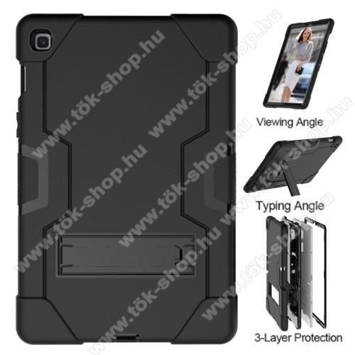Műanyag védő tok / hátlap - FEKETE - szilikon betétes, asztali tartó funkciós, erősített sarkok, ERŐS VÉDELEM! - SAMSUNG SM-T725 Galaxy Tab S5e 10.5 LTE / SAMSUNG SM-T720 Galaxy Tab S5e 10.5 Wi-Fi