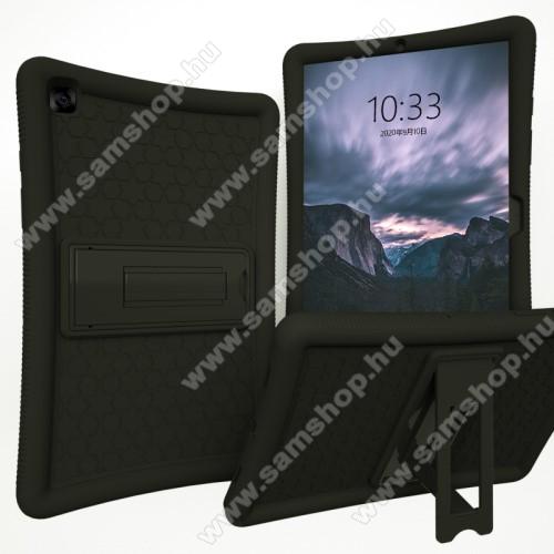 SAMSUNG Galaxy Tab A7 10.4 (2020) (SM-T500/SM-T505)Műanyag védő tok / hátlap - FEKETE - szilikon betétes, asztali tartó funkciós, ERŐS VÉDELEM! - SAMSUNG Galaxy Tab A7 10.4 (2020) (SM-T500/SM-T505)