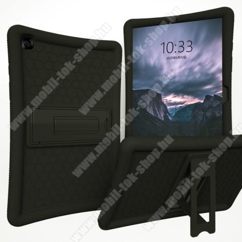 Műanyag védő tok / hátlap - FEKETE - szilikon betétes, asztali tartó funkciós, ERŐS VÉDELEM! - SAMSUNG Galaxy Tab A7 10.4 (2020) (SM-T500/SM-T505)