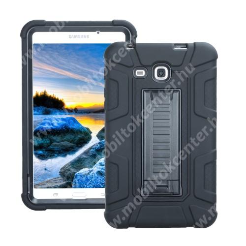 Műanyag védő tok / hátlap - FEKETE - szilikon betétes, asztali tartó funkciós, ERŐS VÉDELEM! - SAMSUNG SM-T280 / SM-T285 Galaxy Tab A 7.0 (2016)