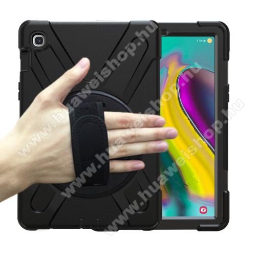 Műanyag védő tok / hátlap - FEKETE -  X alakú, erősített sarkok, 3 rétegből áll, szilikon betétes, kitámasztható, 360°-ban elforgatható csuklópánt - ERŐS VÉDELEM! - SAMSUNG SM-T725 Galaxy Tab S5e 10.5 LTE / SAMSUNG SM-T720 Galaxy Tab S5e 10.5 Wi-Fi