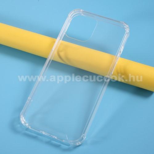 APPLE iPhone 12 Pro MaxMűanyag védő tok / hátlap - FÉNYES - ÁTLÁTSZÓ - szilikon keret, erősített sarkok - APPLE iPhone 12 Pro Max