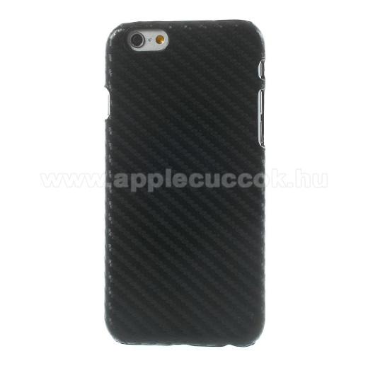 APPLE iPhone 6Műanyag védő tok / hátlap - karbon mintás - FEKETE - APPLE iPhone 6