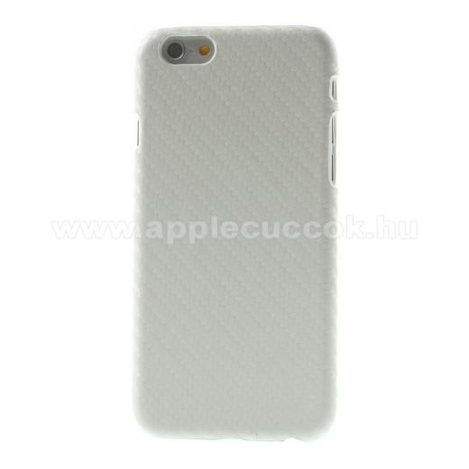 APPLE iPhone 6Műanyag védő tok / hátlap - karbon mintás - FEHÉR - APPLE iPhone 6