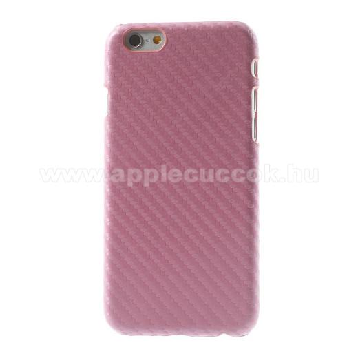 APPLE iPhone 6Műanyag védő tok / hátlap - karbon mintás - RÓZSASZÍN - APPLE iPhone 6