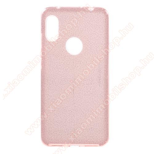 Műanyag védő tok / hátlap - kivehető csillámos réteg, szilikon burkolat - RÓZSASZÍN - Xiaomi Redmi Note 6 Pro