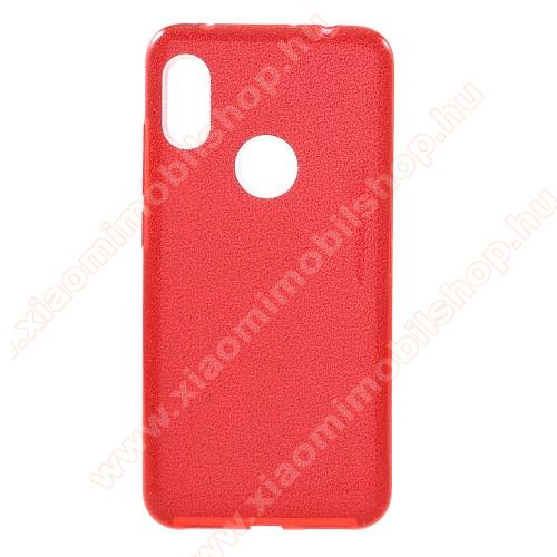 Műanyag védő tok / hátlap - kivehető csillámos réteg, szilikon burkolat - PIROS - Xiaomi Redmi Note 6 Pro