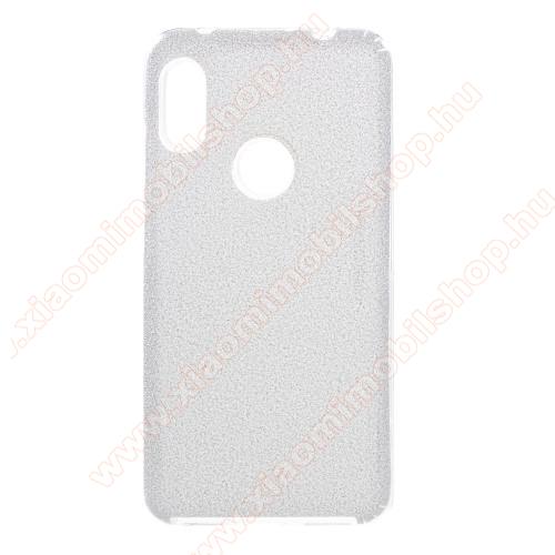 Műanyag védő tok / hátlap - kivehető csillámos réteg, szilikon burkolat - EZÜST - Xiaomi Redmi Note 6 Pro