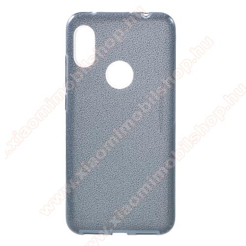 Műanyag védő tok / hátlap - kivehető csillámos réteg, szilikon burkolat - FEKETE - Xiaomi Redmi Note 6 Pro