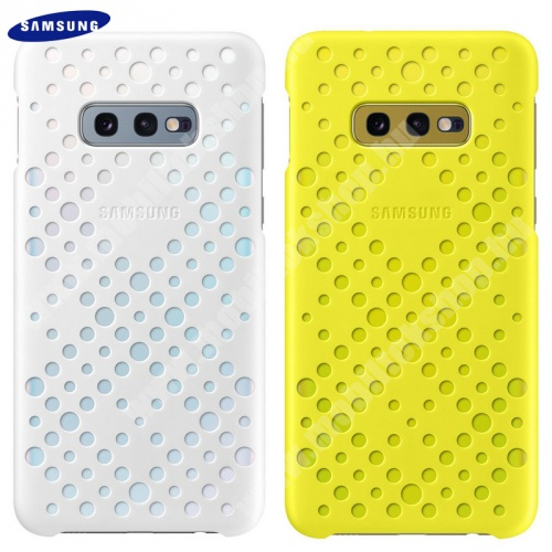 Műanyag védő tok / hátlap - lyukacsos, 2 db - FEHÉR / SÁRGA - SAMSUNG SM-G970F Galaxy S10e - EF-XG970CWEGWW - GYÁRI