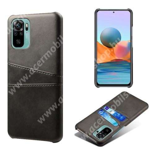 Műanyag védő tok / hátlap - műbőr borítás, bankkártyatartó zsebekkel - FEKETE - Xiaomi Redmi Note 10 / Redmi Note 10S