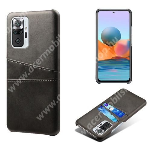Műanyag védő tok / hátlap - műbőr borítás, bankkártyatartó zsebekkel - FEKETE - Xiaomi Redmi Note 10 Pro / Redmi Note 10 Pro Max