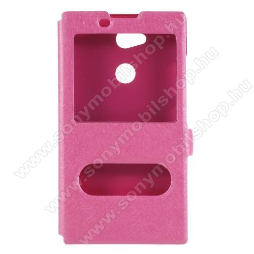 Műanyag védő tok / hátlap - RÓZSASZÍN - oldalra nyíló ablakos flip cover, asztali tartó funkció, mágneses záródás, hívásfelvétel - Sony Xperia L2